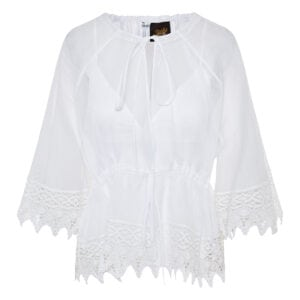 Crochet-trimmed cotton top