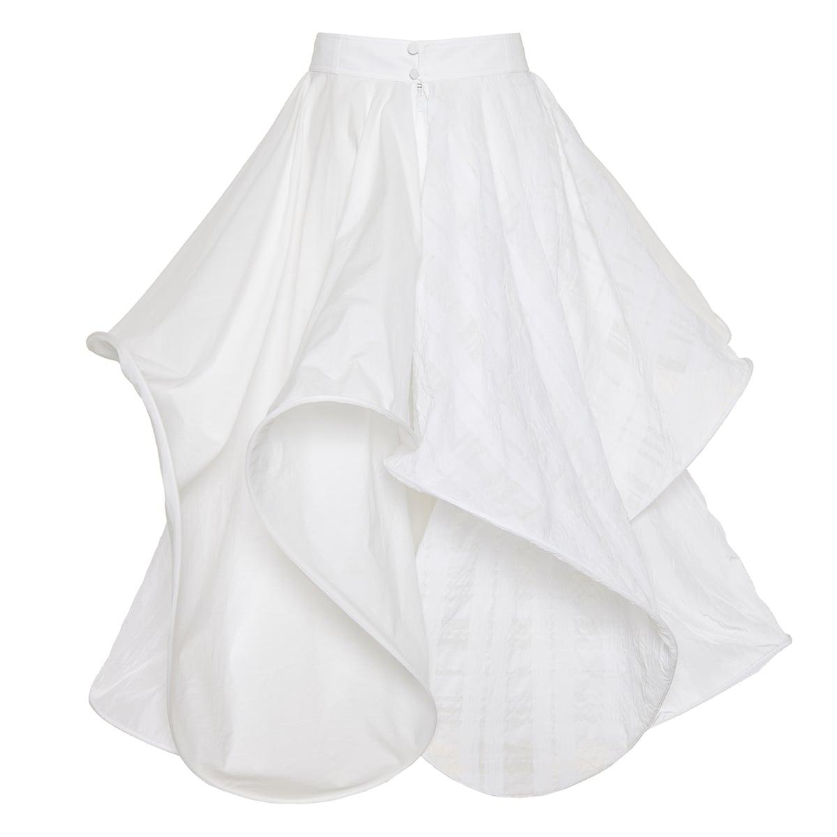 Spiral ruffled cotton midi skirt