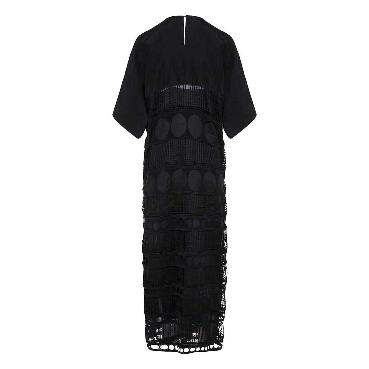 Embellished lace-paneled long dress