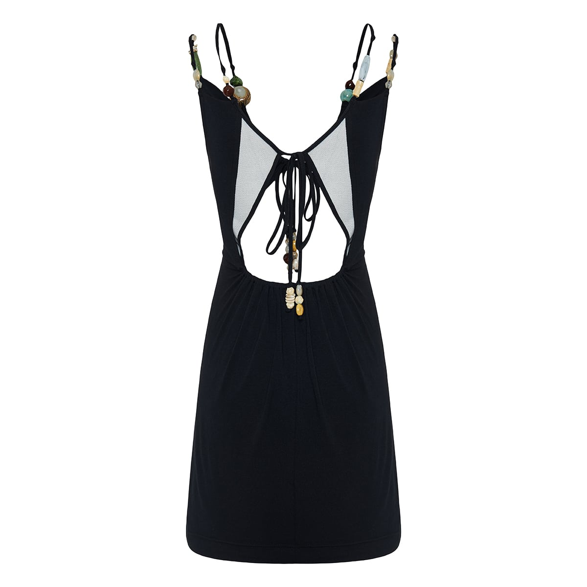 Bead-embellished cutout mini dress