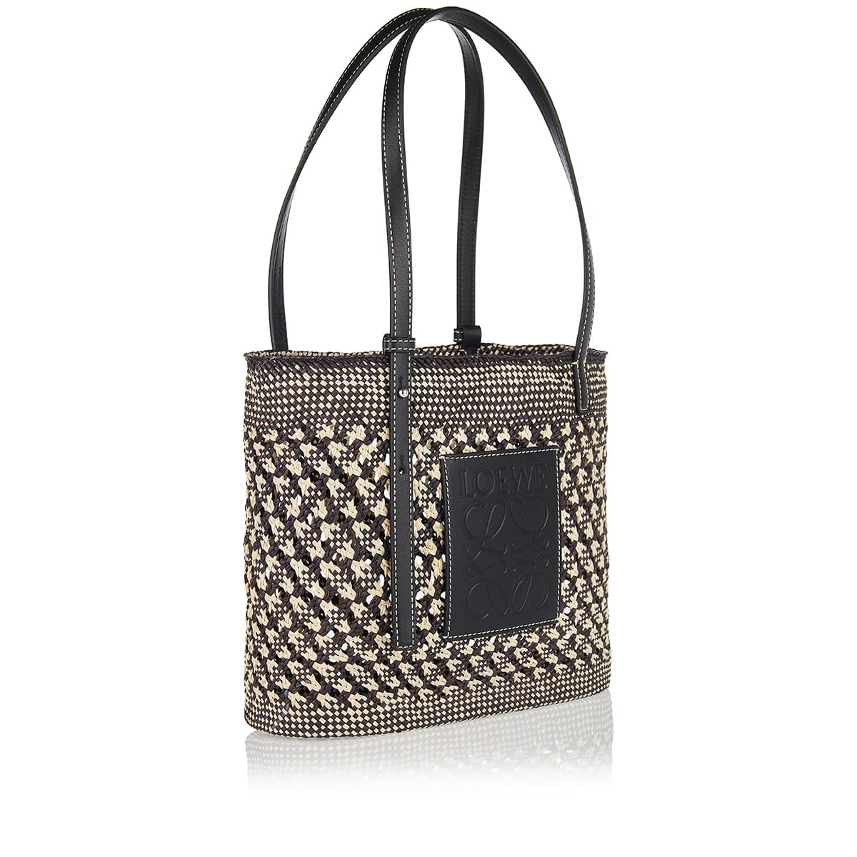 Square small woven basket bag