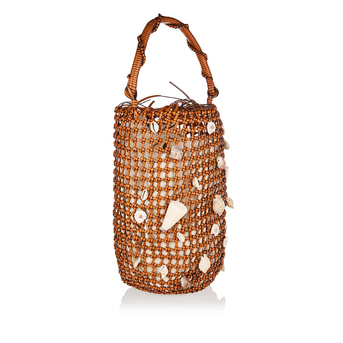 Shells Mesh leather bucket bag