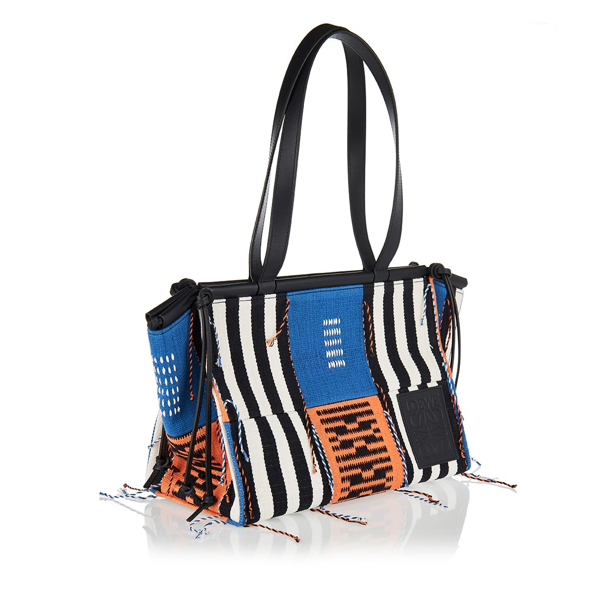 Cushion small leather-trimmed patchwork tote