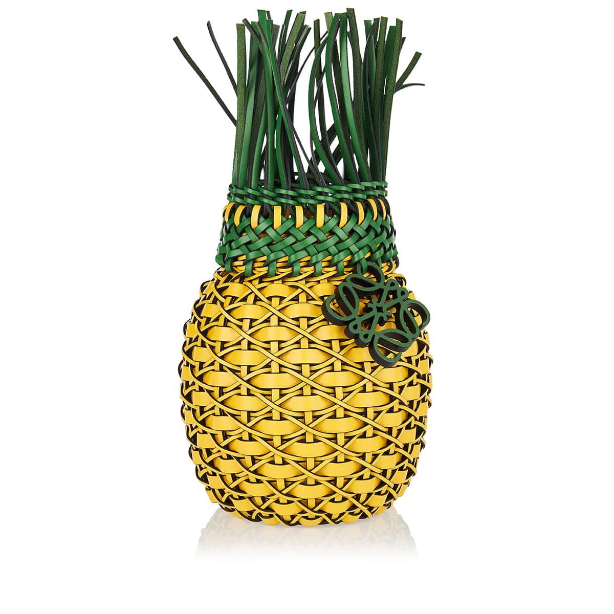 Pineapple leather-woven bucket bag