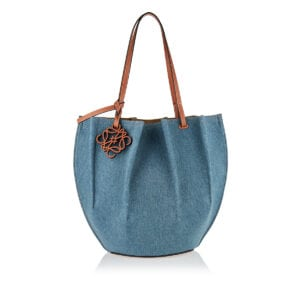 Shell denim and leather tote