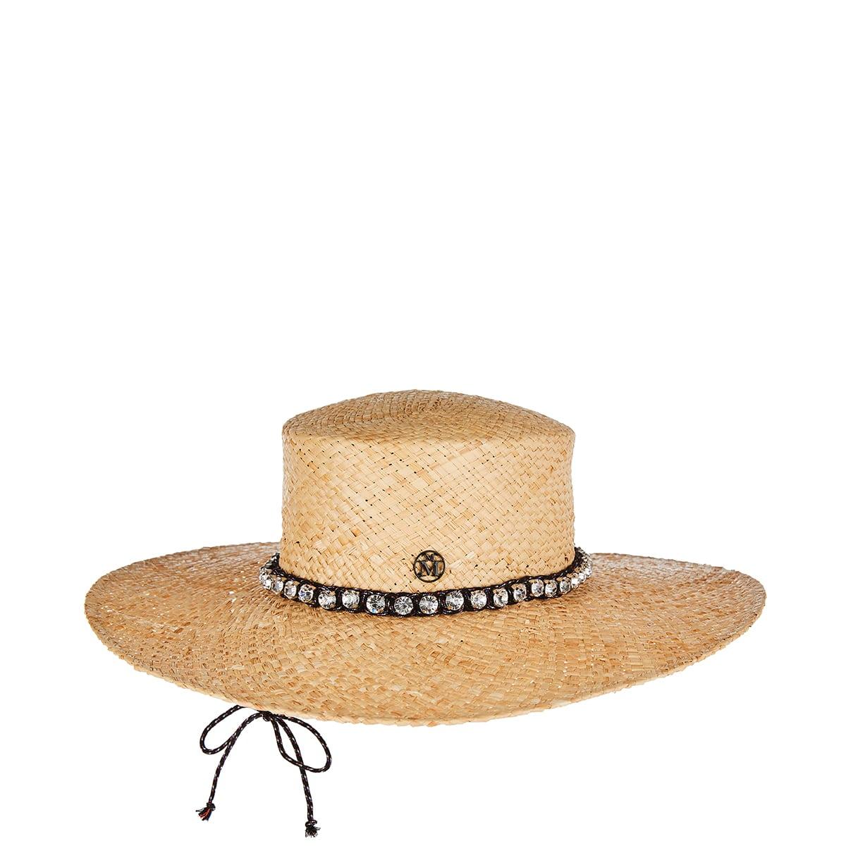 Lana crystal-embellished raffia hat