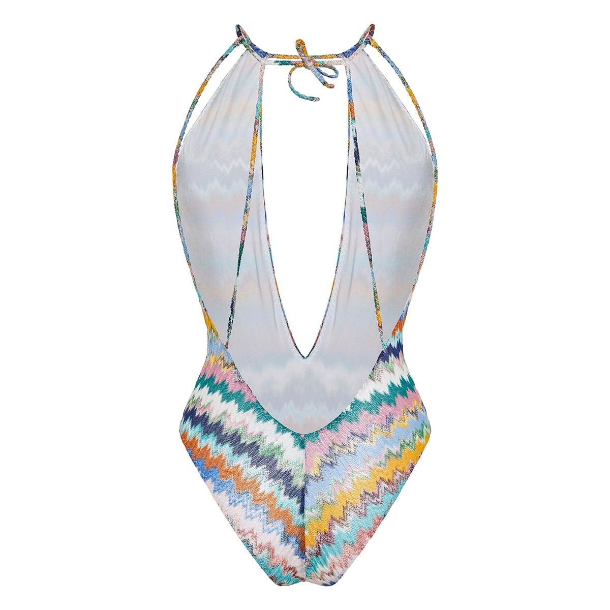 Chevron-knit halterneck swimsuit
