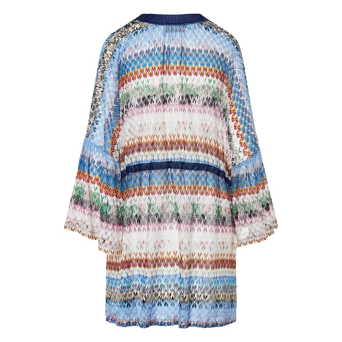 Patterned-knit kaftan dress