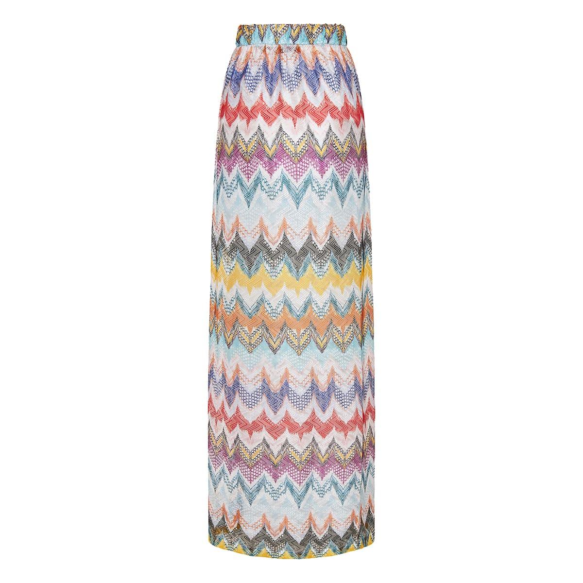 Chevron-knit long skirt