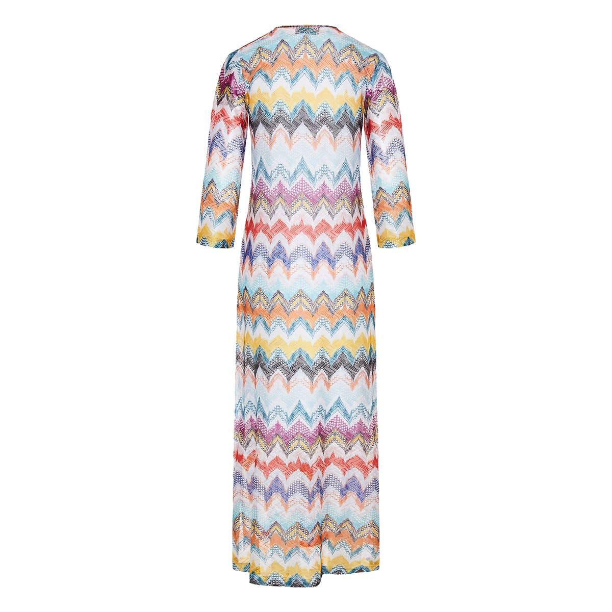 Chevron-knit long dress