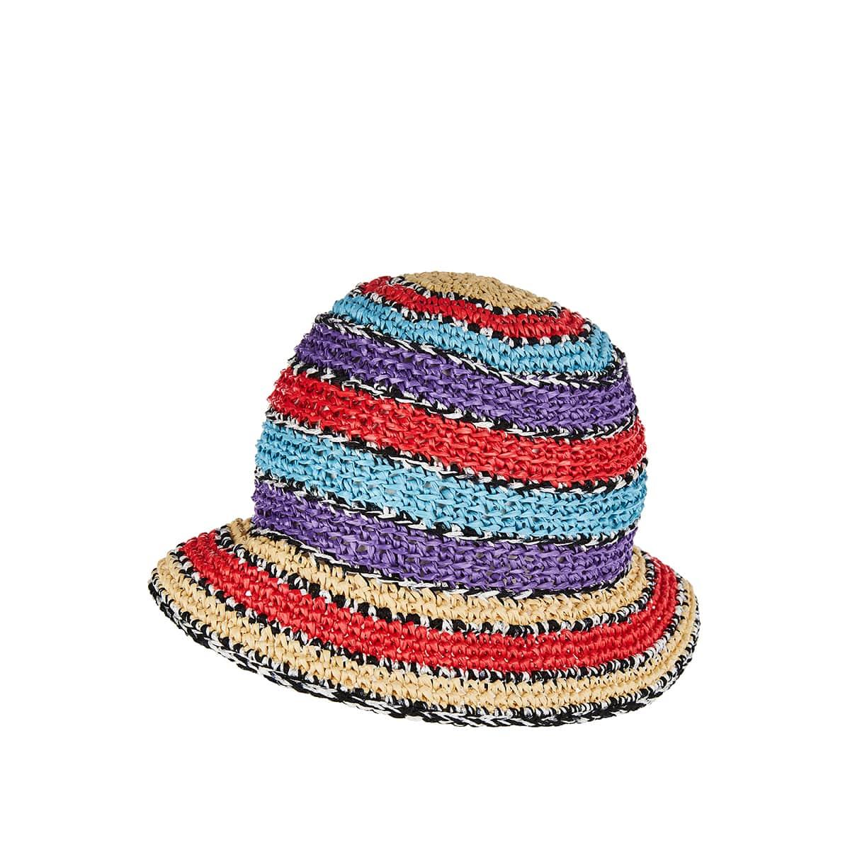 Striped woven bucket hat