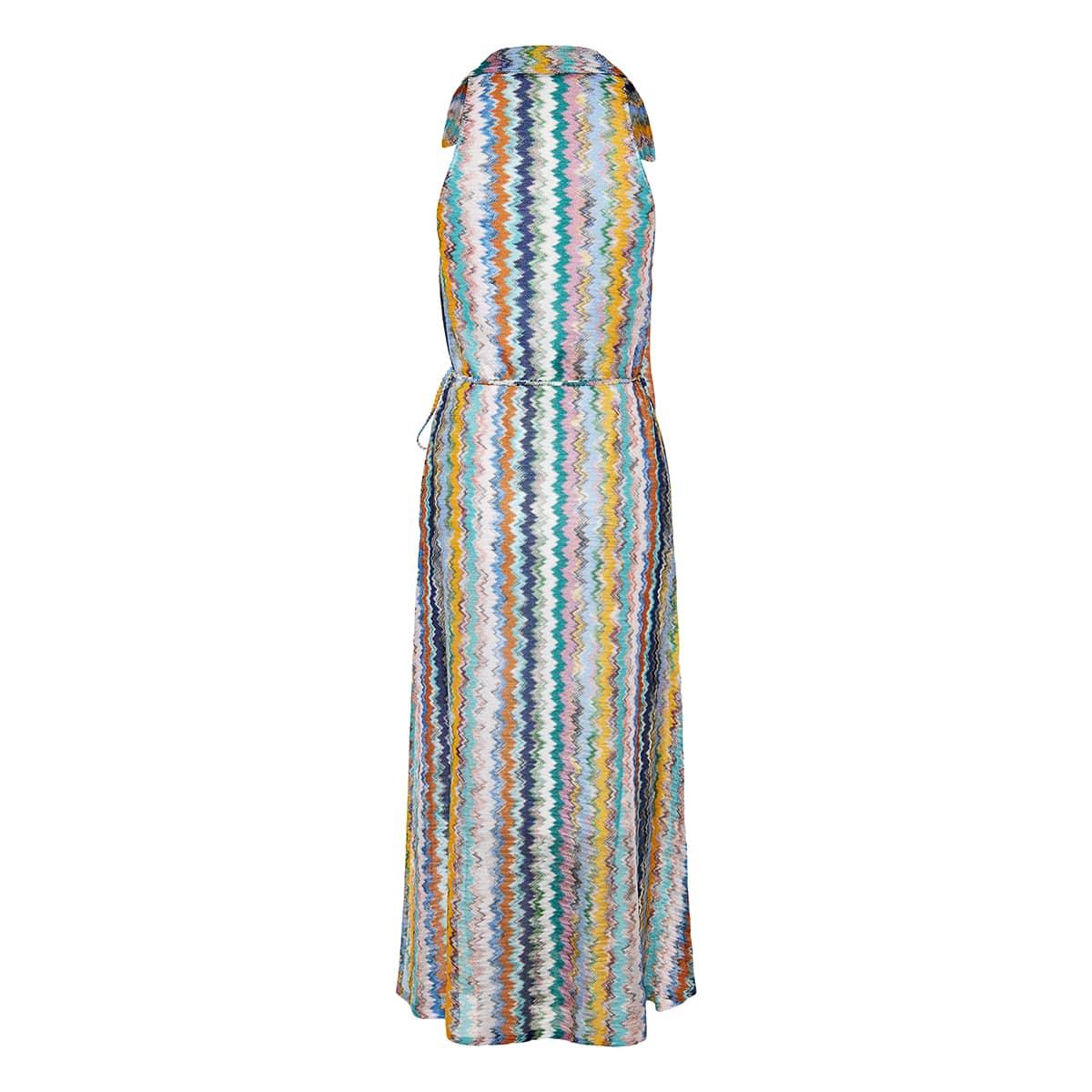 Chevron-knit midi wrap dress