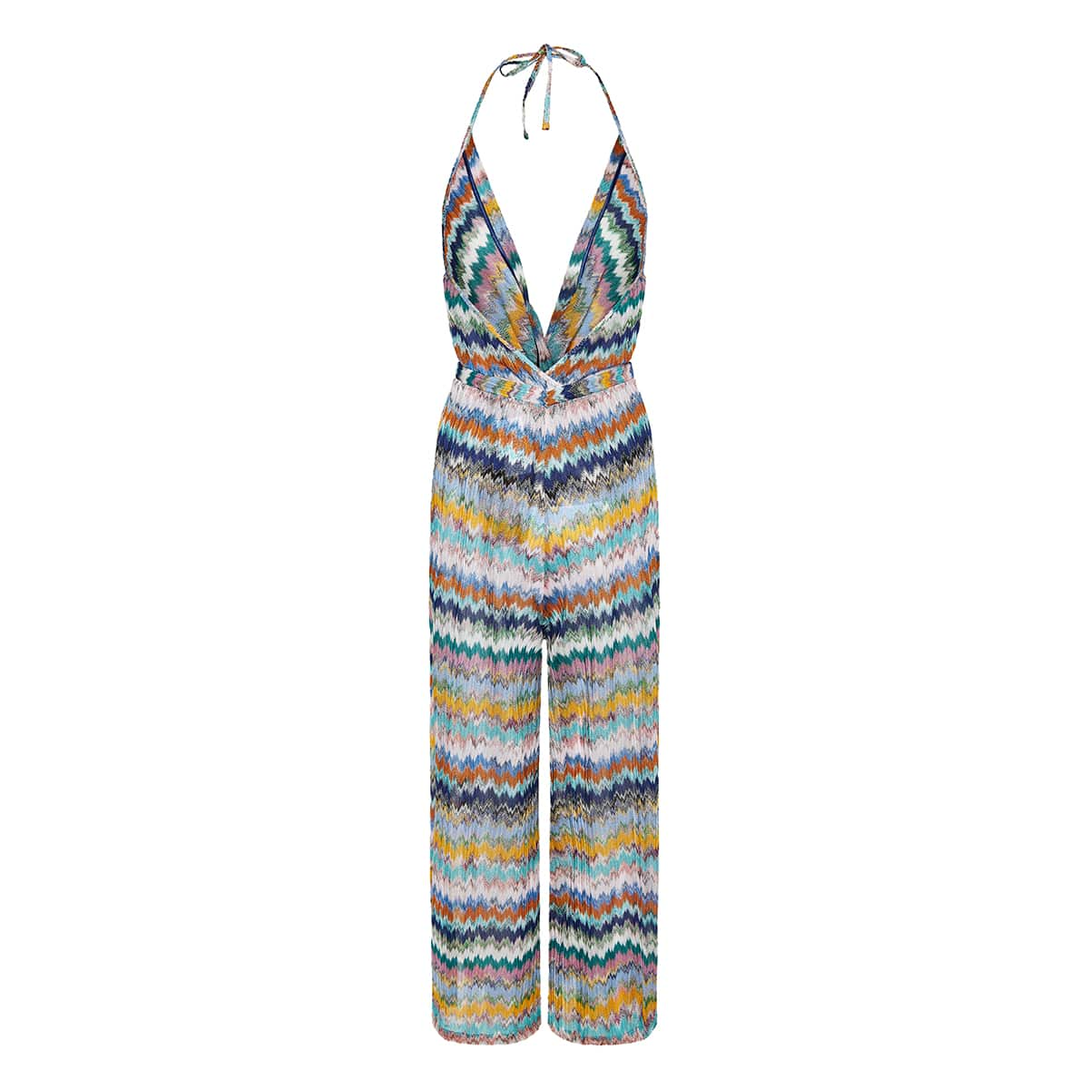 Chevron-knit halterneck jumpsuit