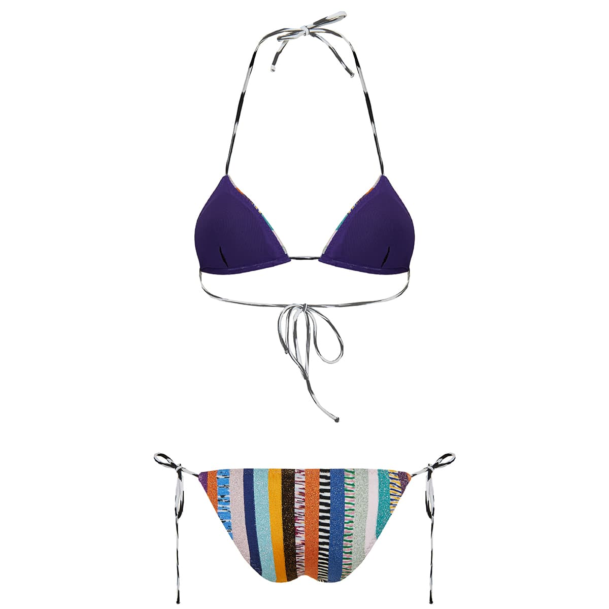 Striped lurex triangle bikini
