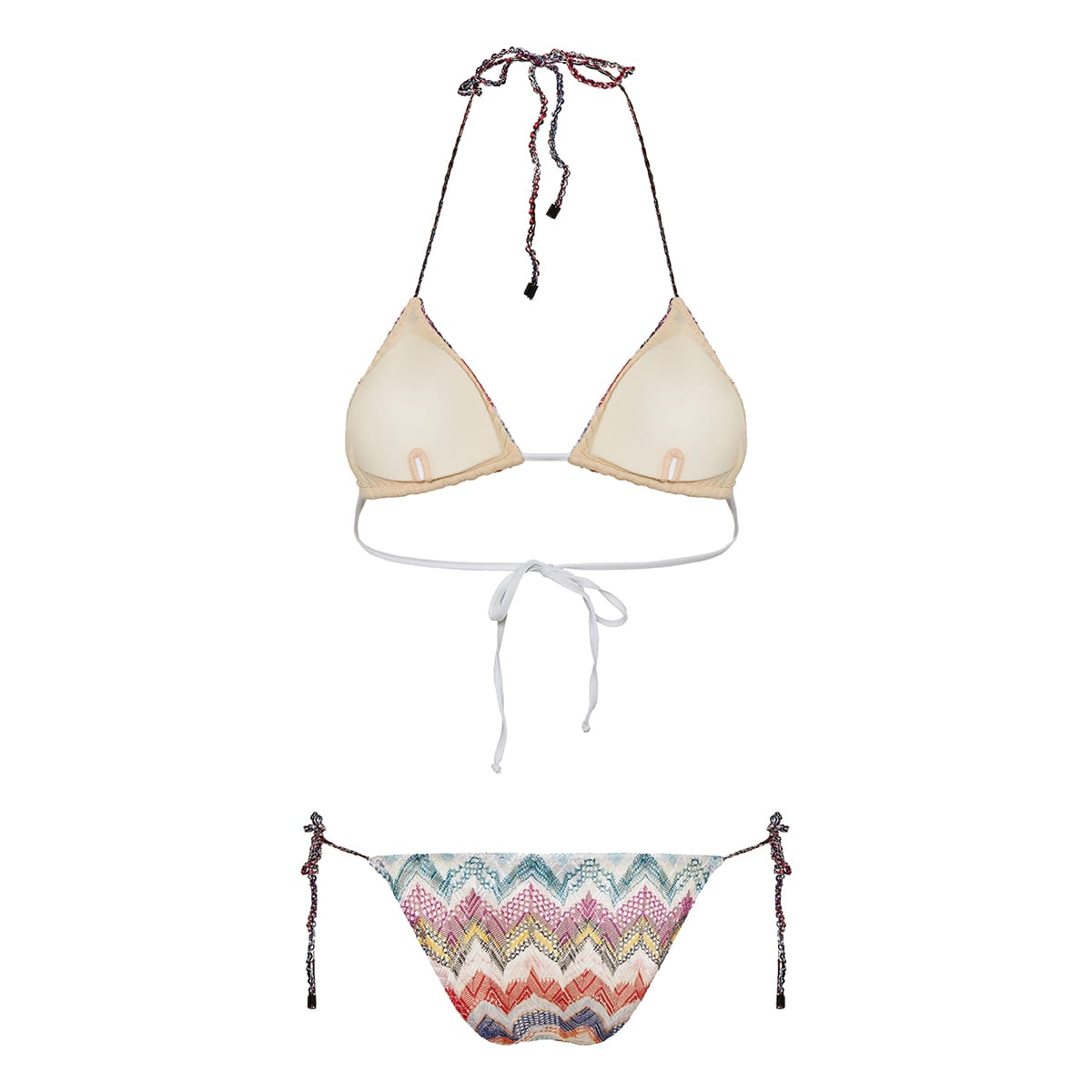 Chevron-knit triangle bikini