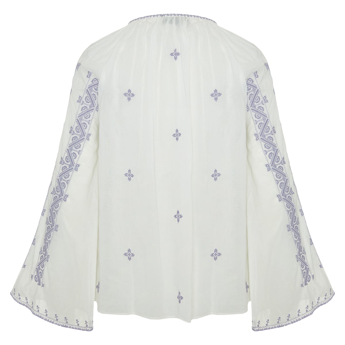 Anna bell-sleeved embroidered blouse