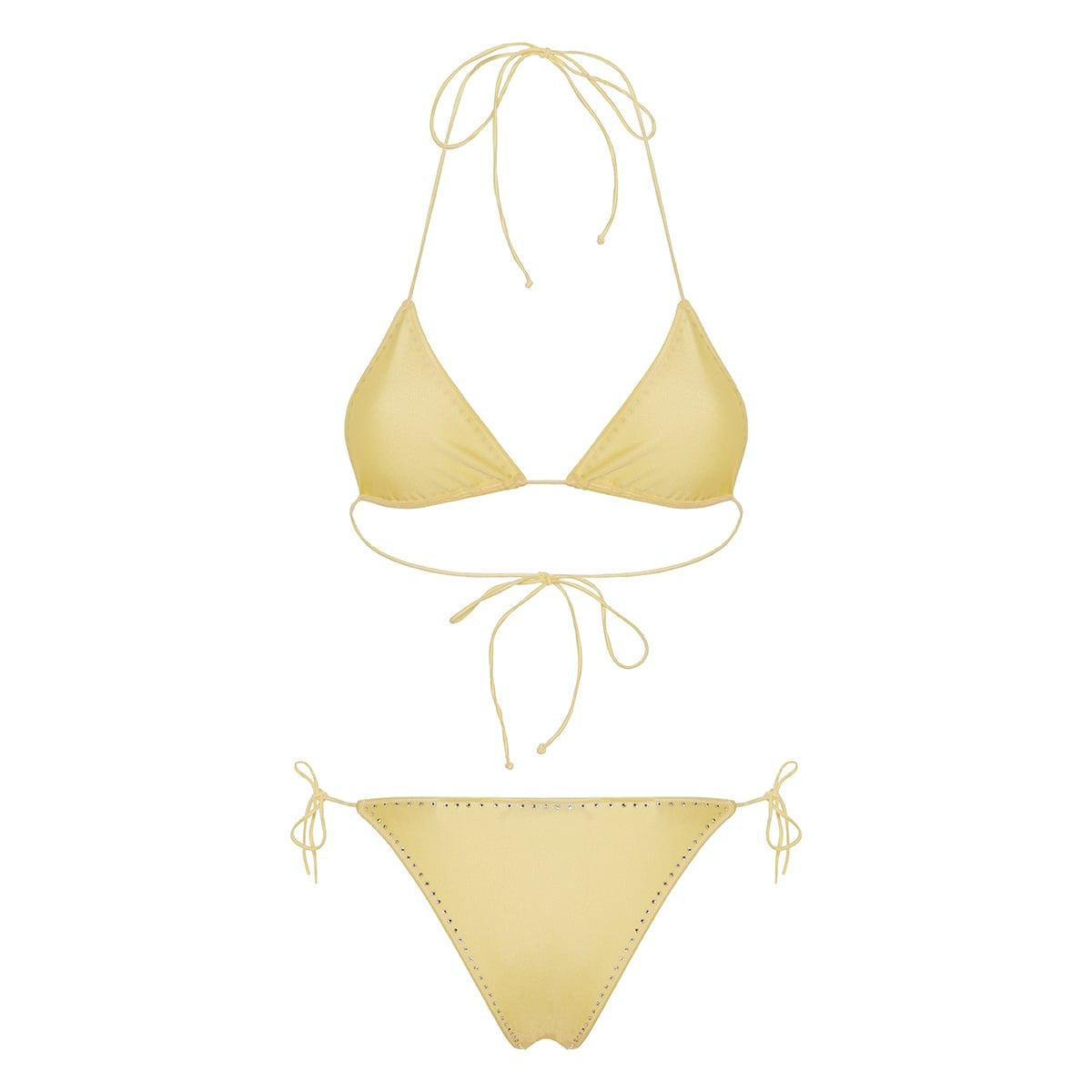 Crystal-embellished triangle bikini
