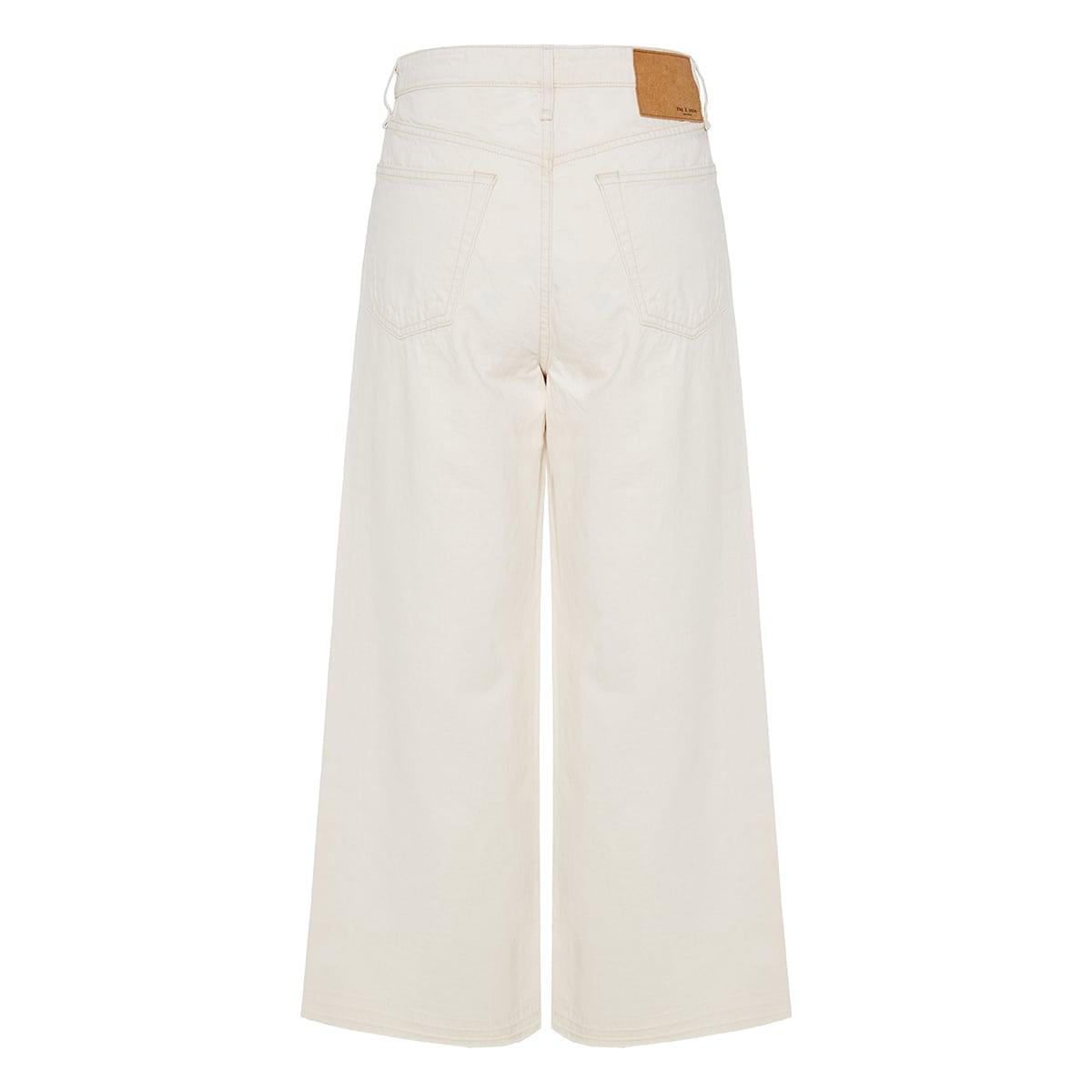 Wide-leg cropped denim trousers