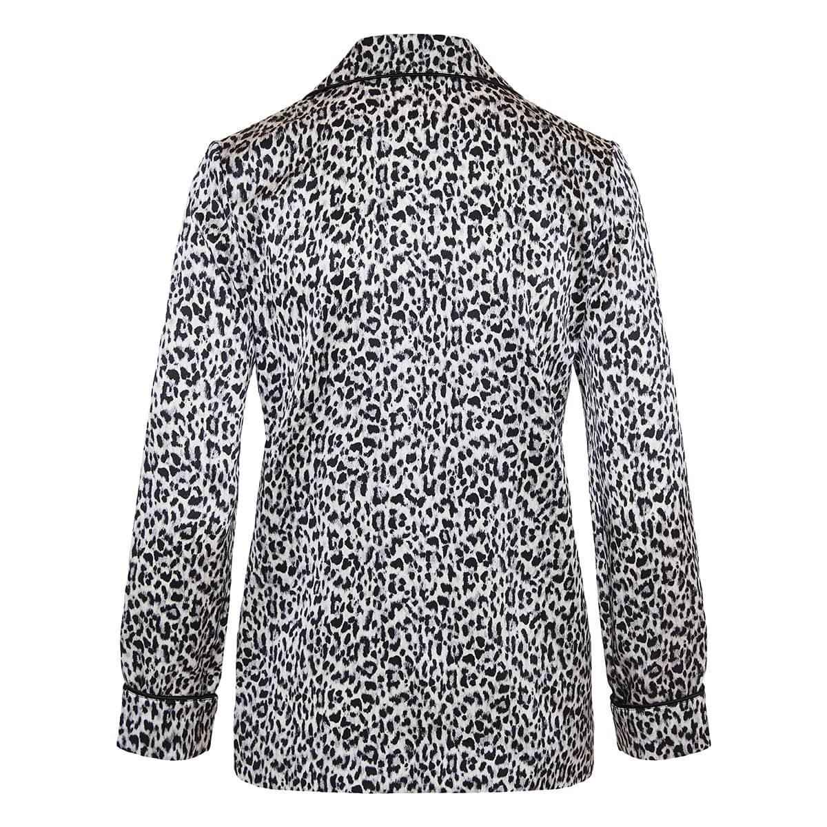Leopard silk pajama shirt