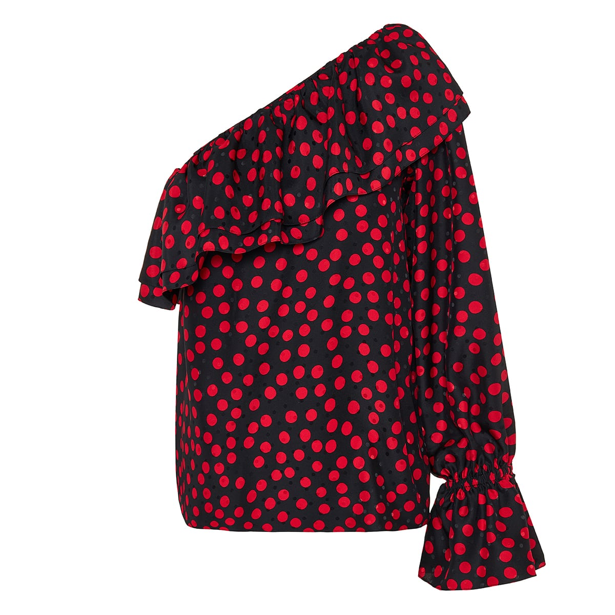 One-shoulder polka-dot jacquard top
