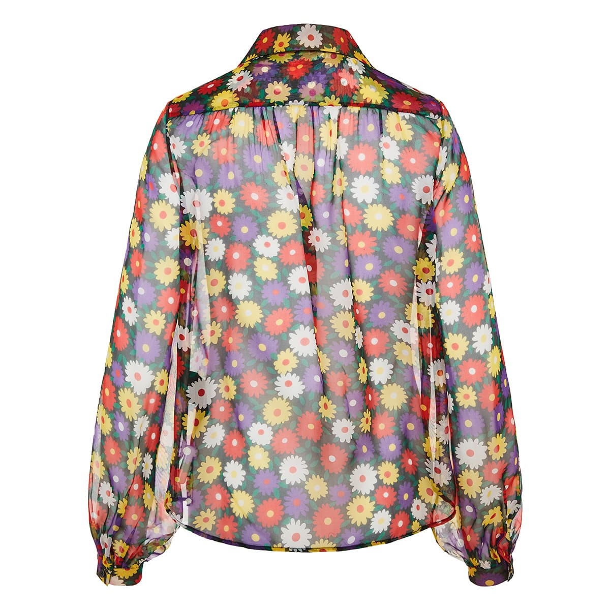 Floral sheer silk shirt
