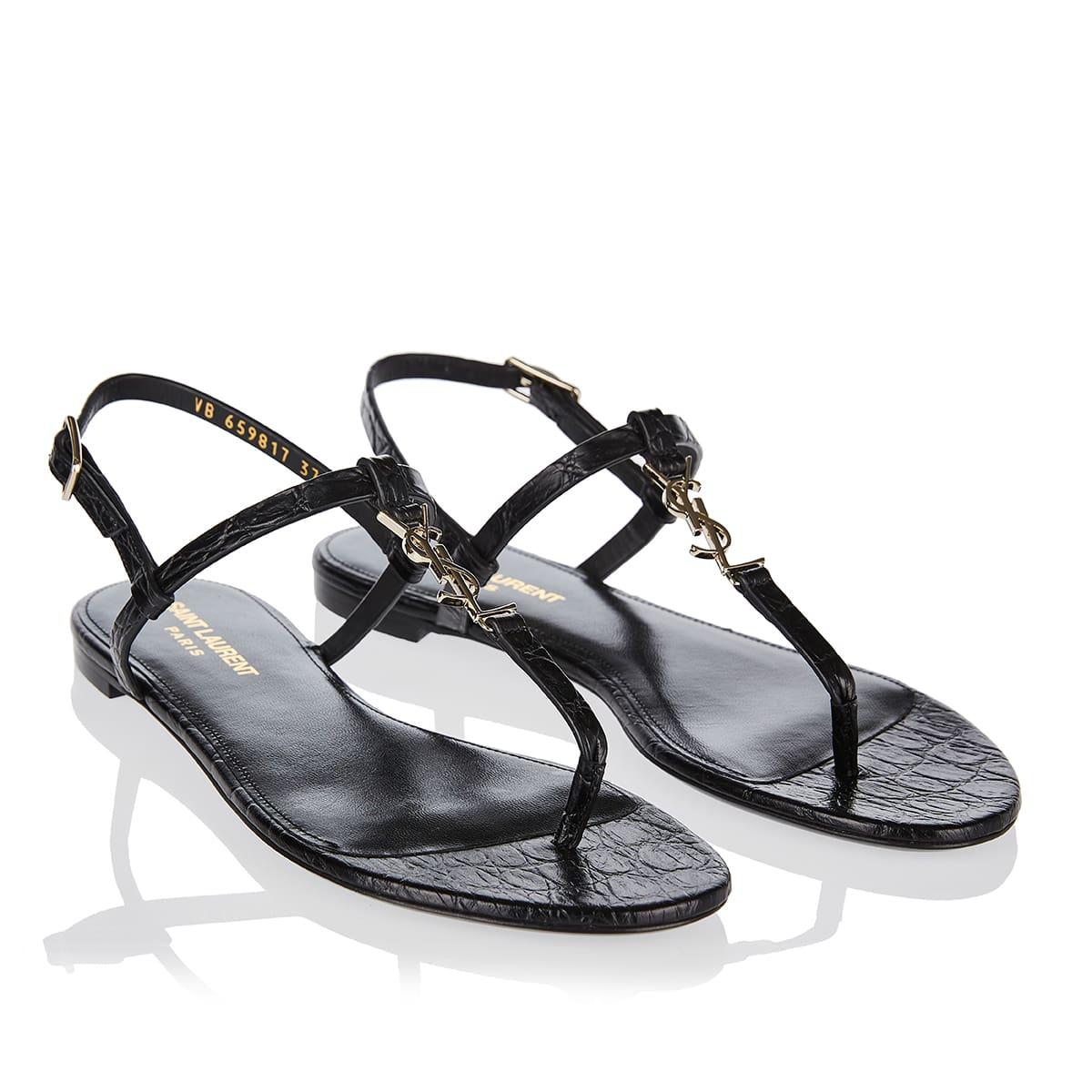 Cassandra croc-effect leather flat sandals