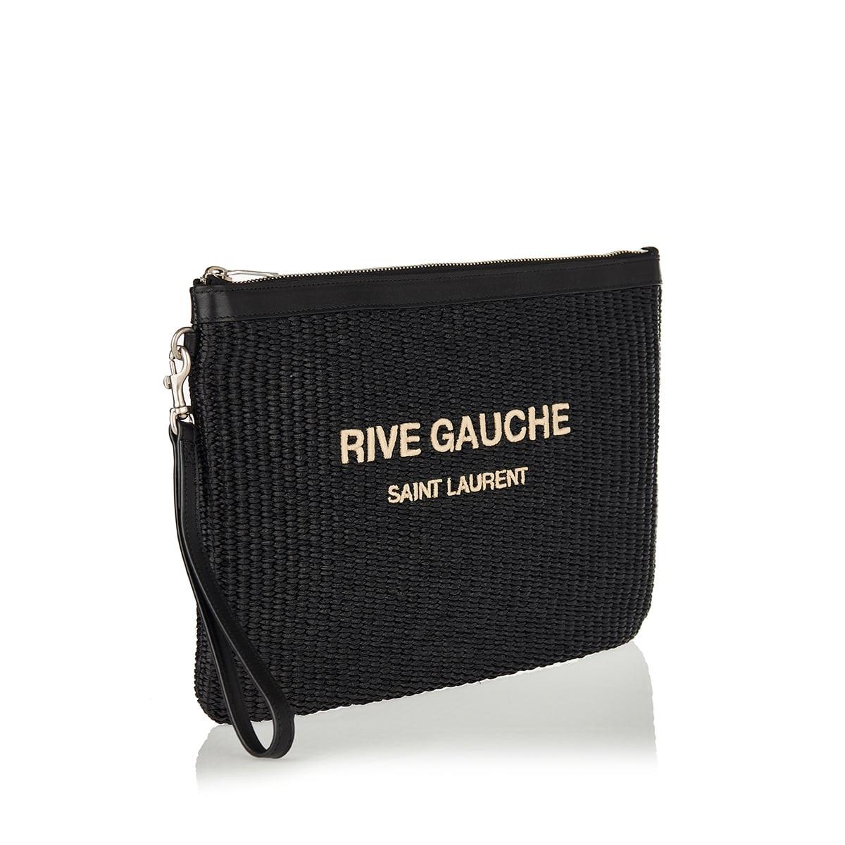 Rive Gauche raffia pouch