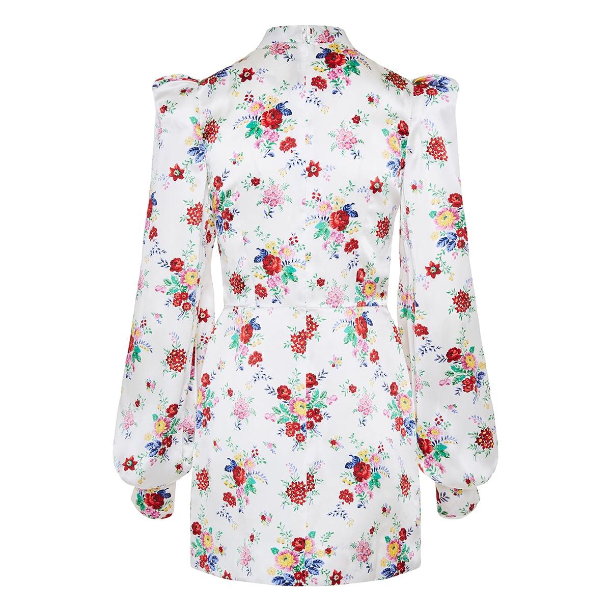 Bow-tie floral silk mini dress