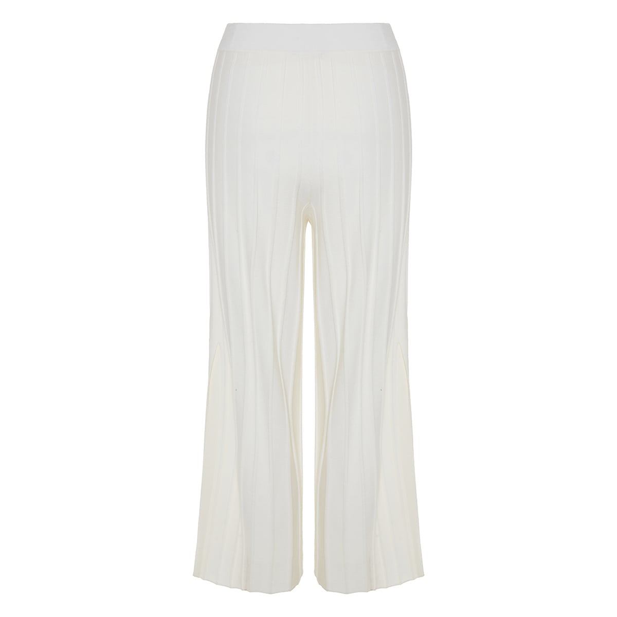 Ribbed-knit wide-leg cropped trousers