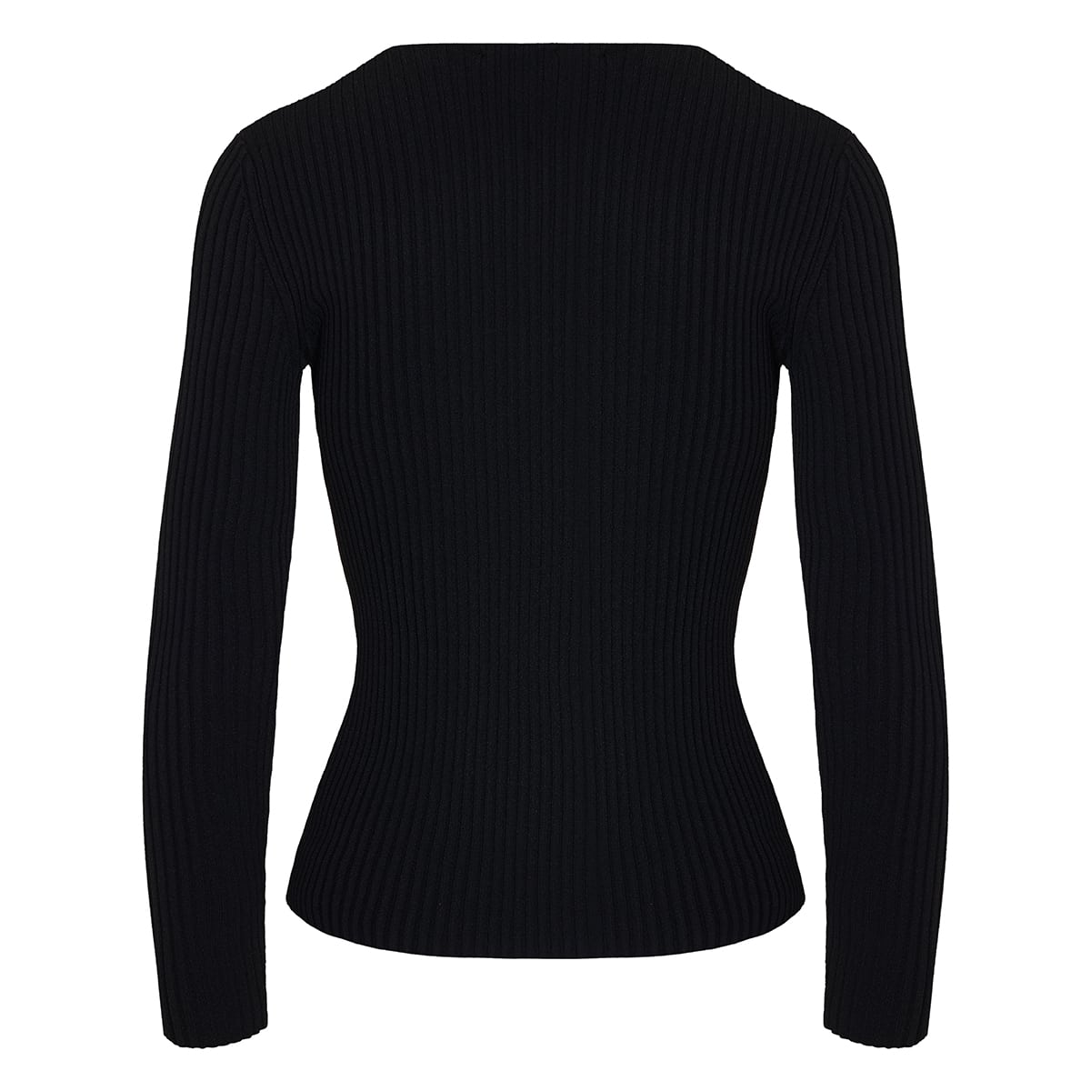 Wrap-effect ribbed-knit blouse