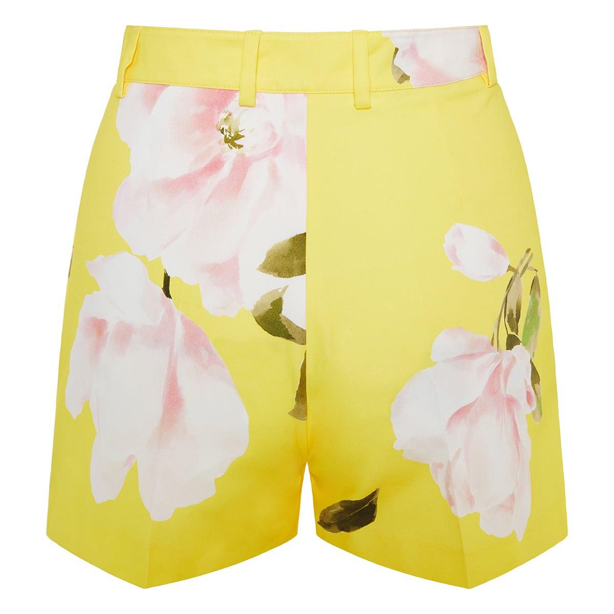 Floral cotton mini shorts