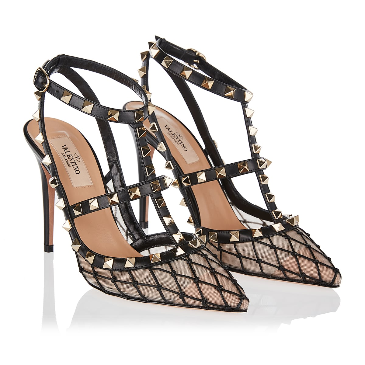 Rockstud mesh and leather pumps