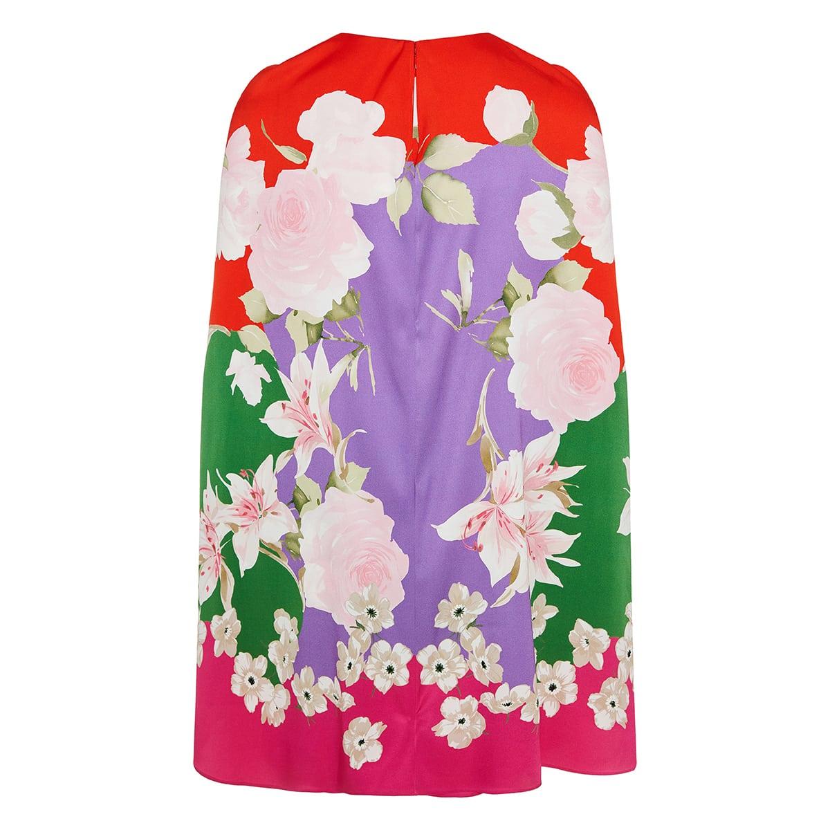 Floral short cape dress