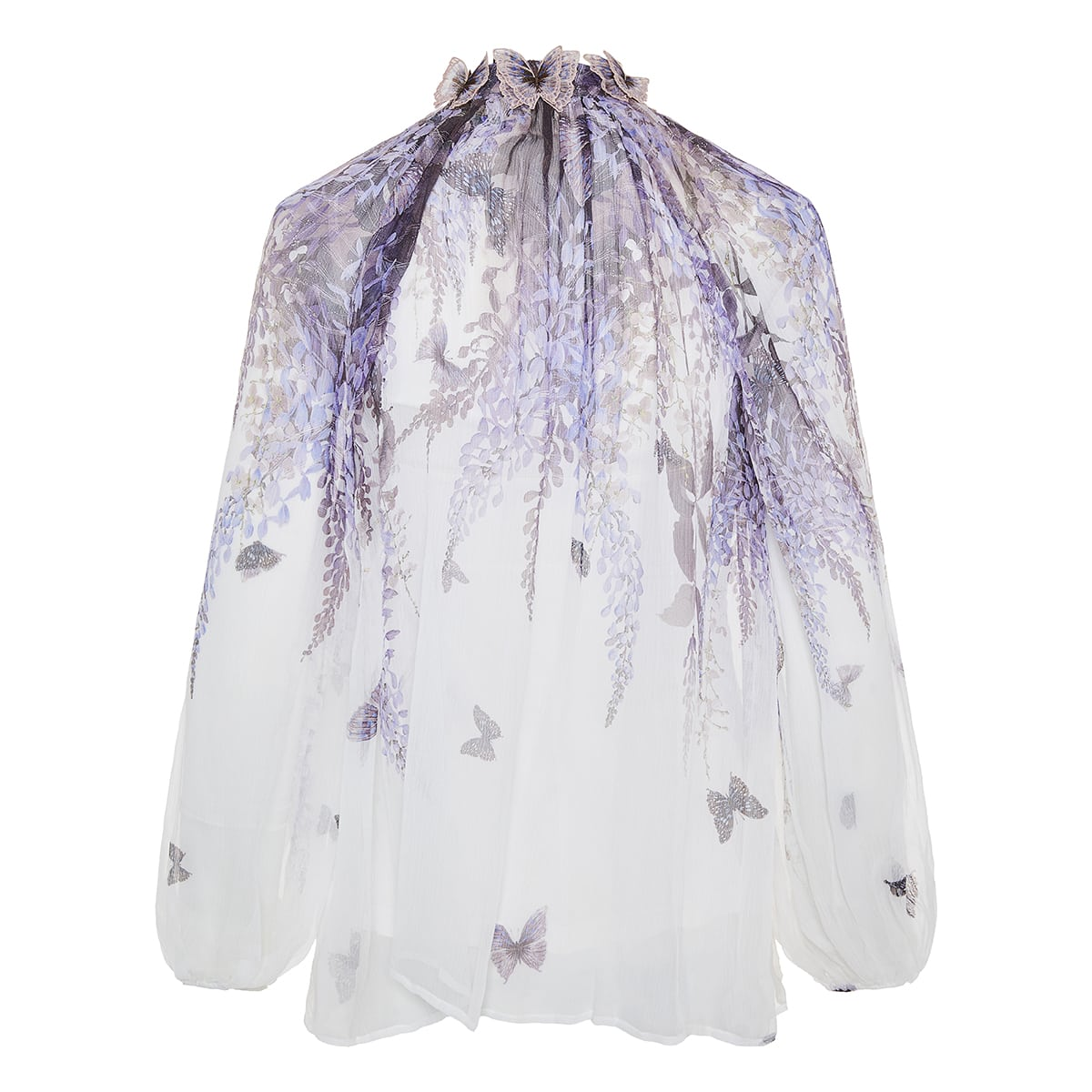 Luminous printed silk shirt