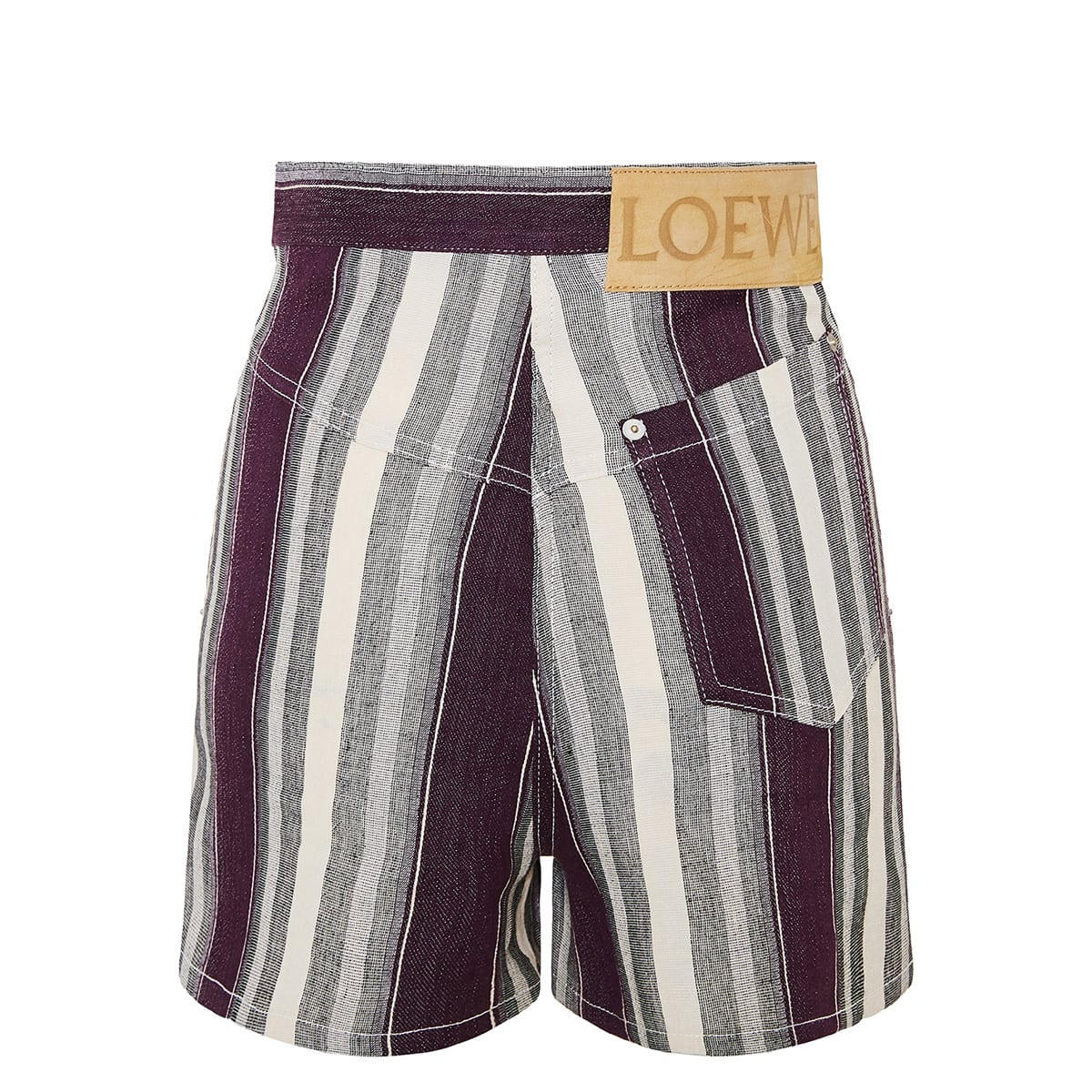 Stripe linen and cotton shorts