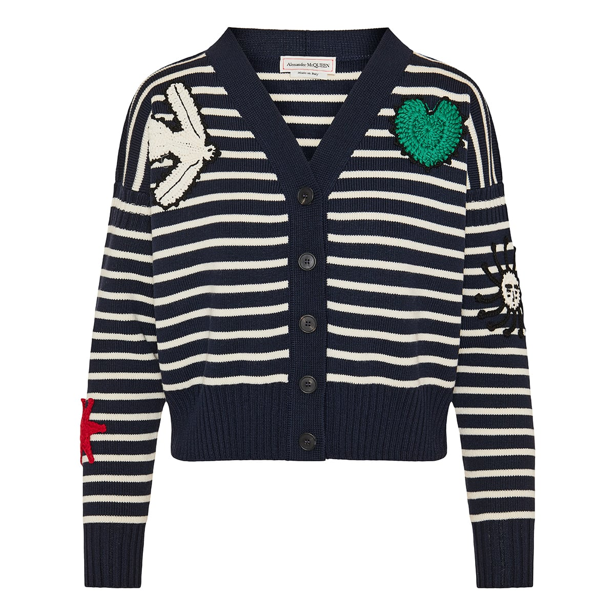 Crochet-patches striped cardigan