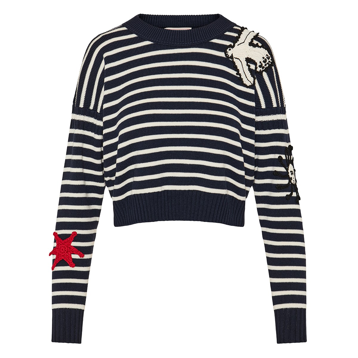Crochet-patches striped sweater