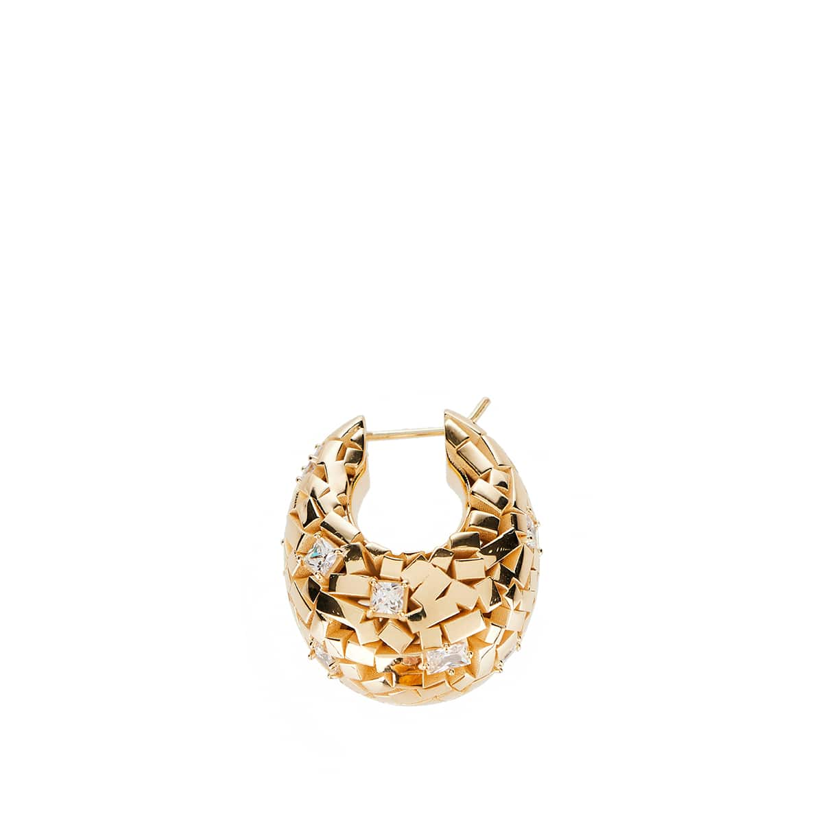 Mosaic-effect gold-plated earrings