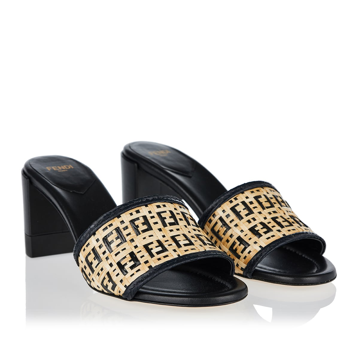 FF raffia and leather mules