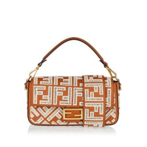 Baguette FF embroidered leather shoulder bag