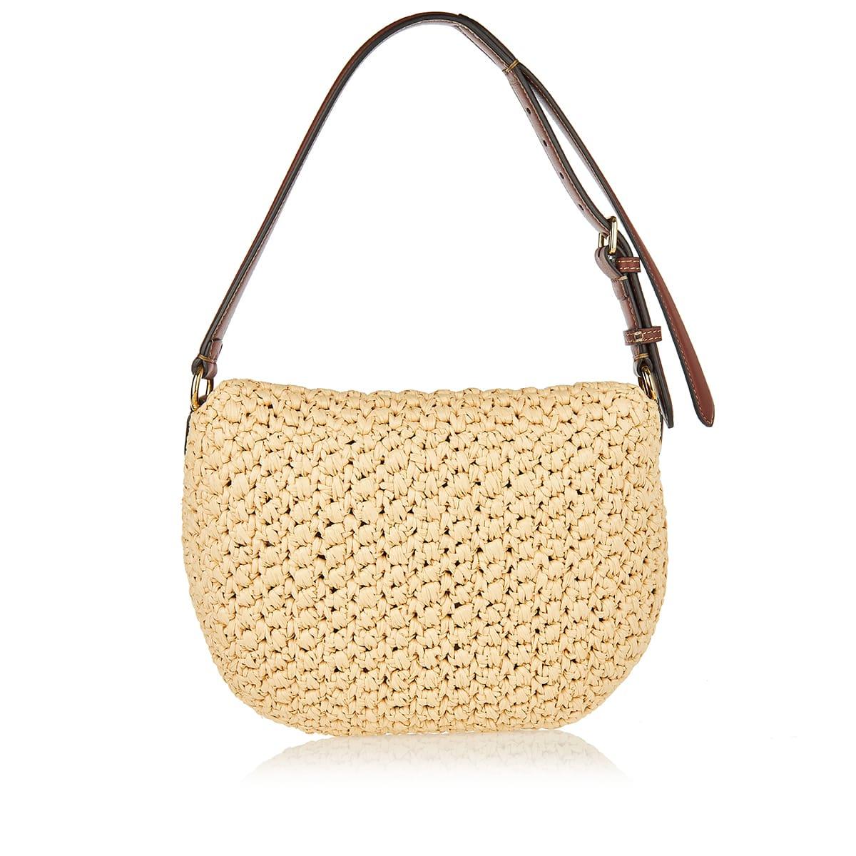 Croissant small straw hobo bag