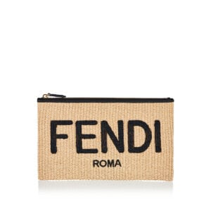 Fendi Roma medium raffia pouch