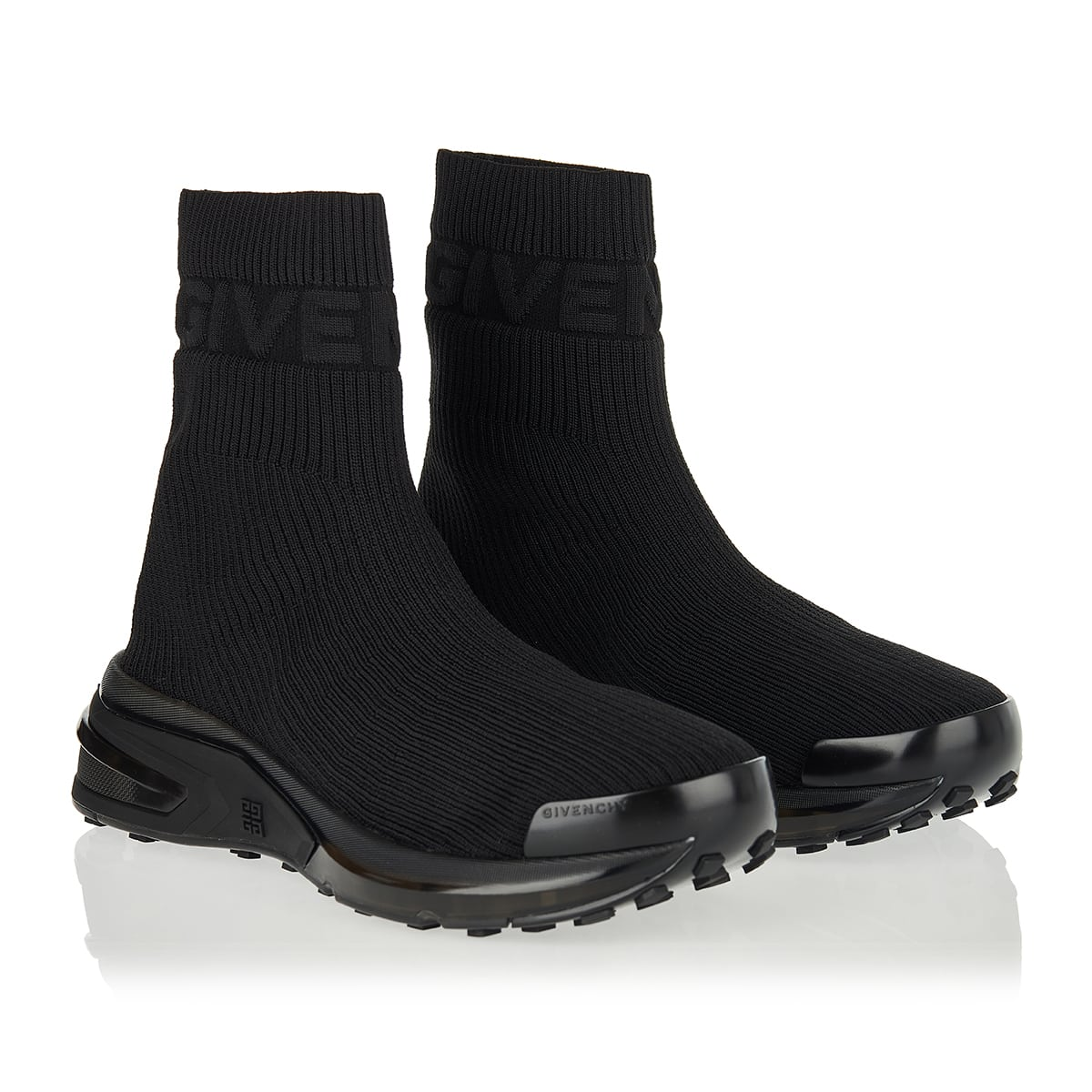 High-top ribbed sock sneakers