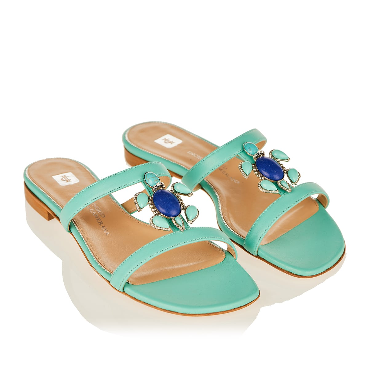Marina embellished leather slide sandals