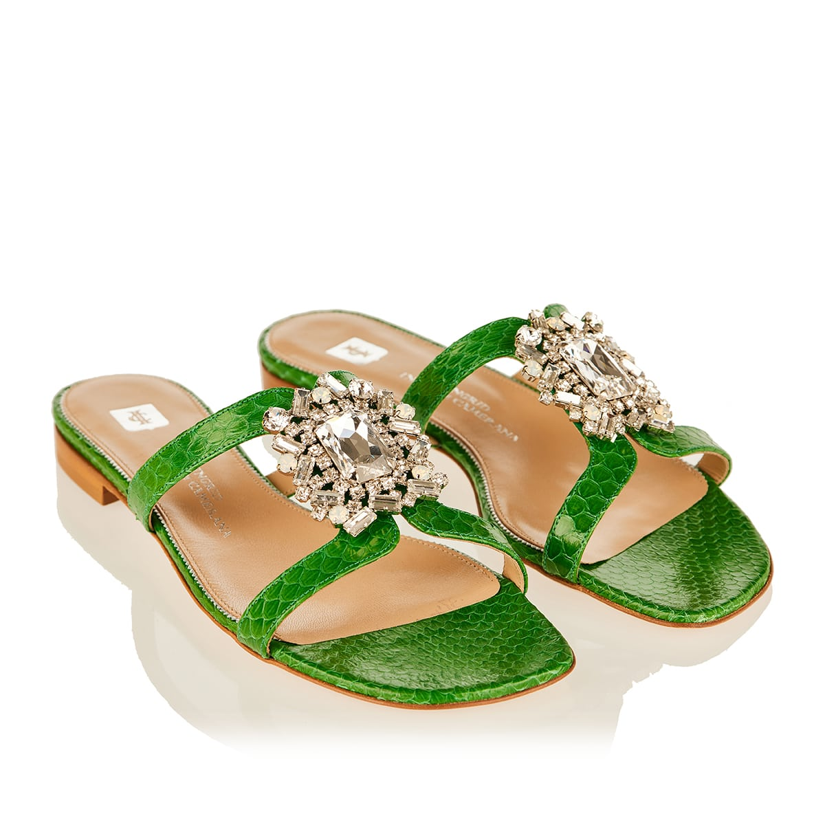 Chloé crystal-embellished croc-effect sandals