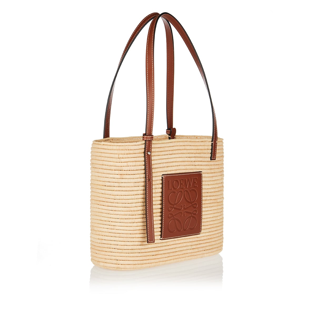 Square small raffia basket bag