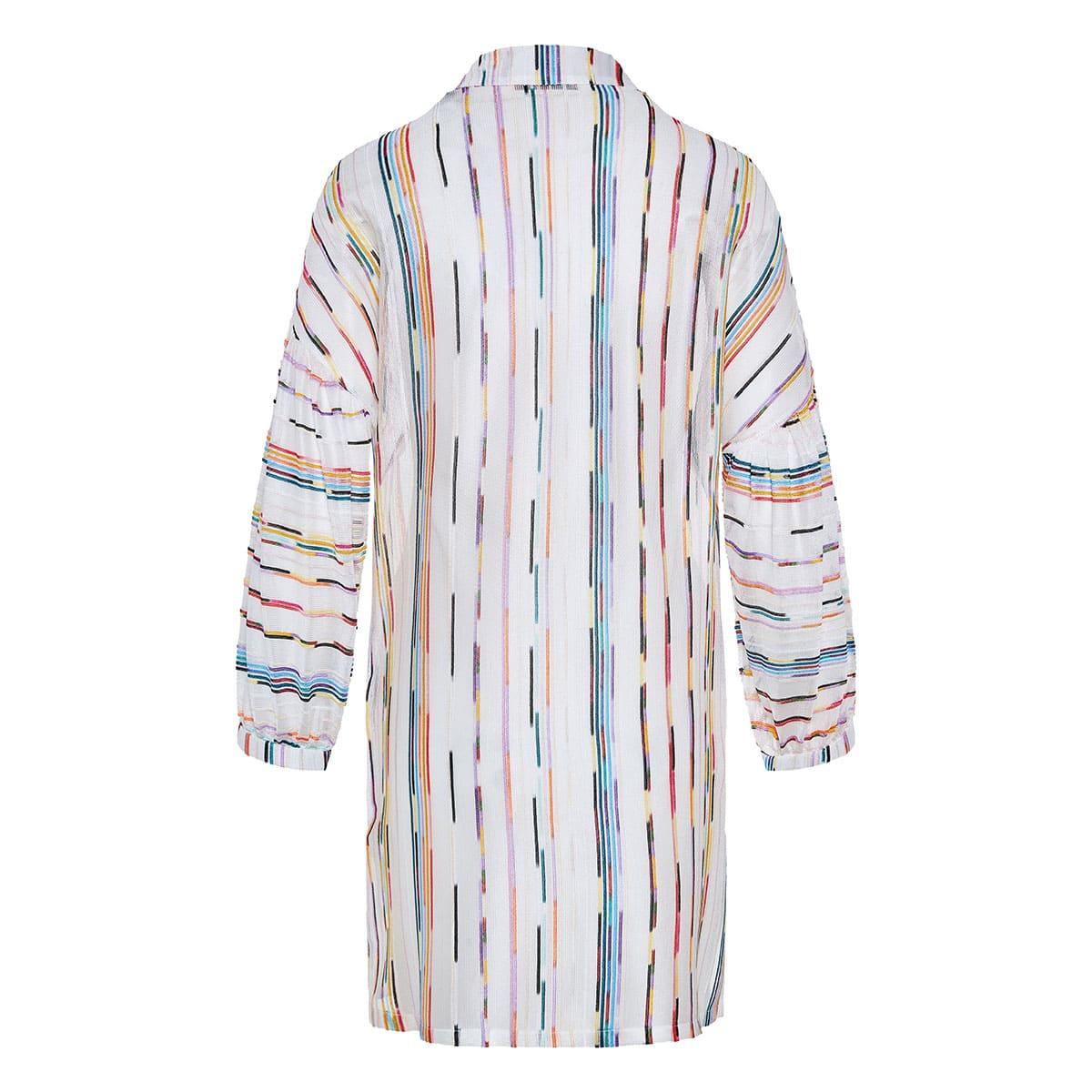 Striped knitted short kaftan dress