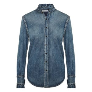 Ruffle-trimmed denim shirt