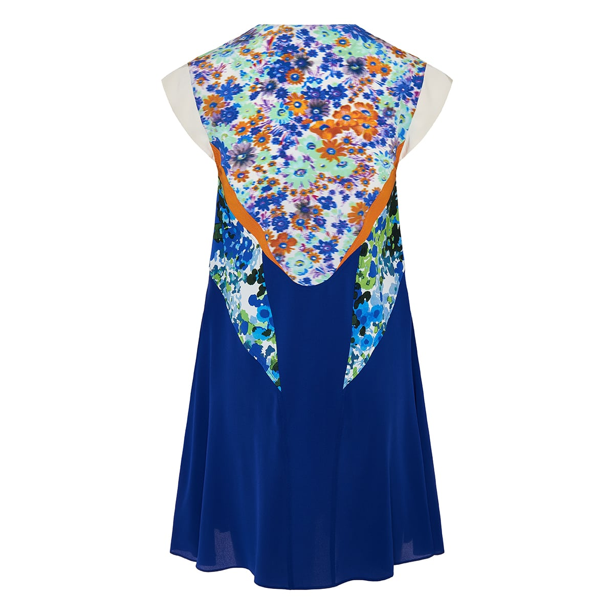 Patchwork print flared mini dress