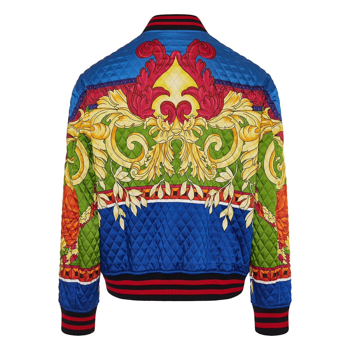 Baroque print quilted bomber jacket